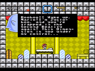 Screenshot Thumbnail / Media File 1 for Super Mario World (USA) [Hack by FPI v1.2] (~Super Mario World - The Second Reality Project 2 - Zycloboo's Challenge)